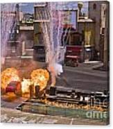 Car And Explosions At Disney Hollywood Canvas Print