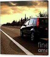 Car On The Road During Sunset Canvas Print