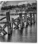 Cardiff Bay Old Jetty Supports Mono Canvas Print