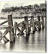 Cardiff Bay Old Jetty Supports Opal Canvas Print