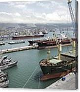 Cargo Ships In Port Canvas Print