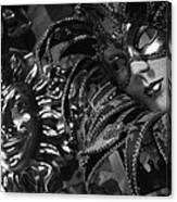 Carnival Masks In Black And White Canvas Print