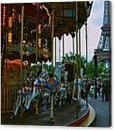 Carousel And Eiffel Tower Canvas Print