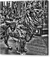Carousel  Black And White Canvas Print