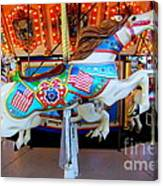 Carousel Horse With Flags Canvas Print