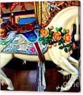 Carousel Horse With Roses Canvas Print