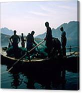 Carp Fishermen In Lake Formed By A Dam Canvas Print