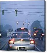 Cars And Traffic Lights In A Rain Storm Canvas Print