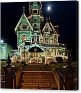 Carson Mansion At Christmas With Moon Canvas Print