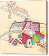 Cartoon Fire Engine And Animals Canvas Print