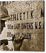 Carving The Name Of Jesse Owens Into The Champions Plinth At The 1936 Summer Olympics In Berlin Canvas Print