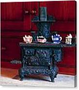 Cast Iron Stove With Teapots Canvas Print
