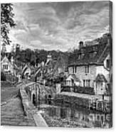 Castle Combe England Monochrome Canvas Print