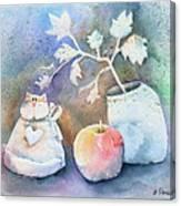 Cat-apple-vase Still Life Canvas Print