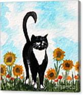 Cat Walk Through The Sunflowers Canvas Print