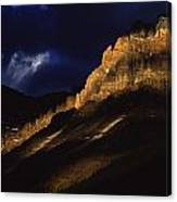 Cathedral Crags At Dusk, Yoho National Canvas Print