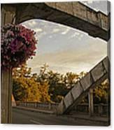 Caveman Bridge Arch And Flowers Canvas Print