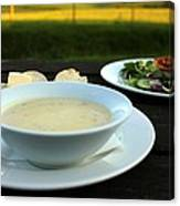 Celery Root Soup And Salad Canvas Print