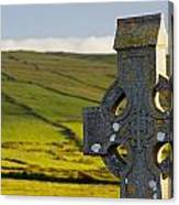 Celtic Cross In A Cemetery Canvas Print