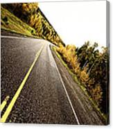 Center Lines Along A Paved Road In Autumn Canvas Print