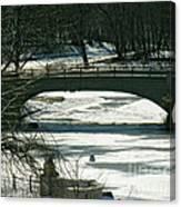 Central Park Bridge-winter Canvas Print