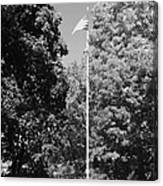 Central Park Flag In Black And White Canvas Print