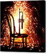 Chair And Horn With Fireworks Canvas Print