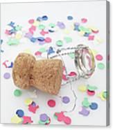 Champagne Cork And Confetti Canvas Print