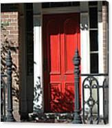Charleston Red Door - Red White Black Door With Iron Gate Posts Canvas Print