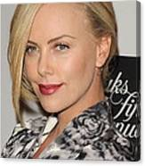 Charlize Theron At In-store Appearance Canvas Print