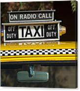 Checker Taxi Cab Duty Sign 2 Canvas Print