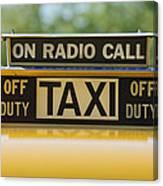 Checker Taxi Cab Duty Sign Canvas Print