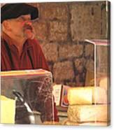 Cheese Seller At Sarlat Market Canvas Print