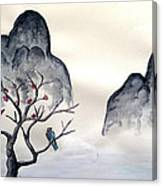 Cherry Blossom Mountains Canvas Print