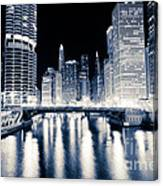 Chicago At Night At Dearborn Street Bridge Canvas Print