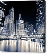 Chicago At Night At Michigan Avenue Bridge Canvas Print