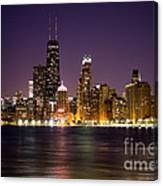 Chicago City At Night Photo Canvas Print