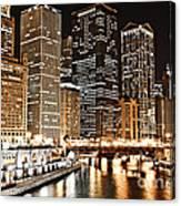 Chicago City Skyline At Night Canvas Print