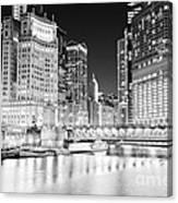 Chicago Cityscape At Night At Dusable Bridge Canvas Print