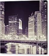 Chicago Cityscape At State Street Bridge Canvas Print