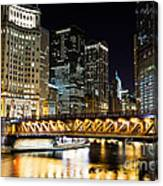 Chicago Dusable Michigan Avenue Bridge At Night Canvas Print