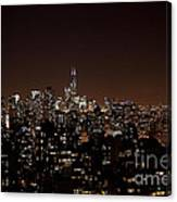 Chicago Glowing At Night Canvas Print
