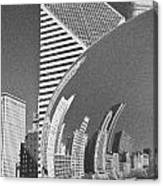 Chicago Reflection Bean Black And White Canvas Print
