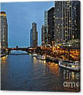 Chicago River At Twilight Canvas Print