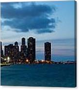Chicago Skyline And Navy Pier At Dusk Canvas Print