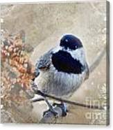 Chickadee Breakfast With Decorations Canvas Print