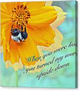 Child Birthday Greeting From Parent Parents - Cosmos And Bumblebee Canvas Print