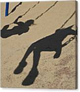 Children Cast Body Shadows In The Sand Canvas Print
