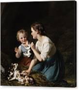 Children With Kitten Canvas Print