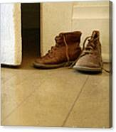 Child's Shoes By Open Door. Canvas Print
